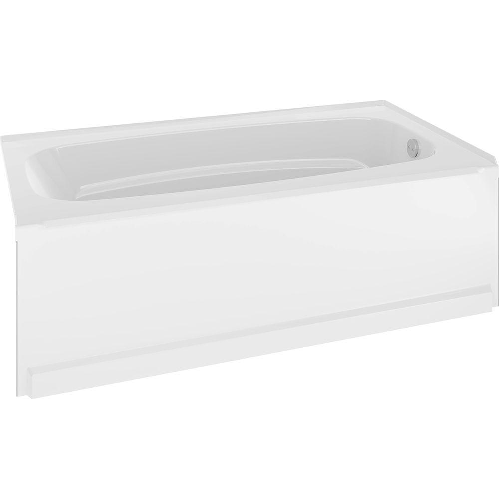Right-Hand Drain Rectangle Alcove Non-Whirlpool Bathtub in-High Gloss White