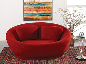 Image is loading Scandinavian-Design-Lunar-Mini-Round-Loveseat-Chair-Red-