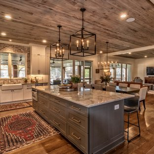 Rustic kitchen remodeling - Kitchen - rustic l-shaped dark wood floor and  brown floor