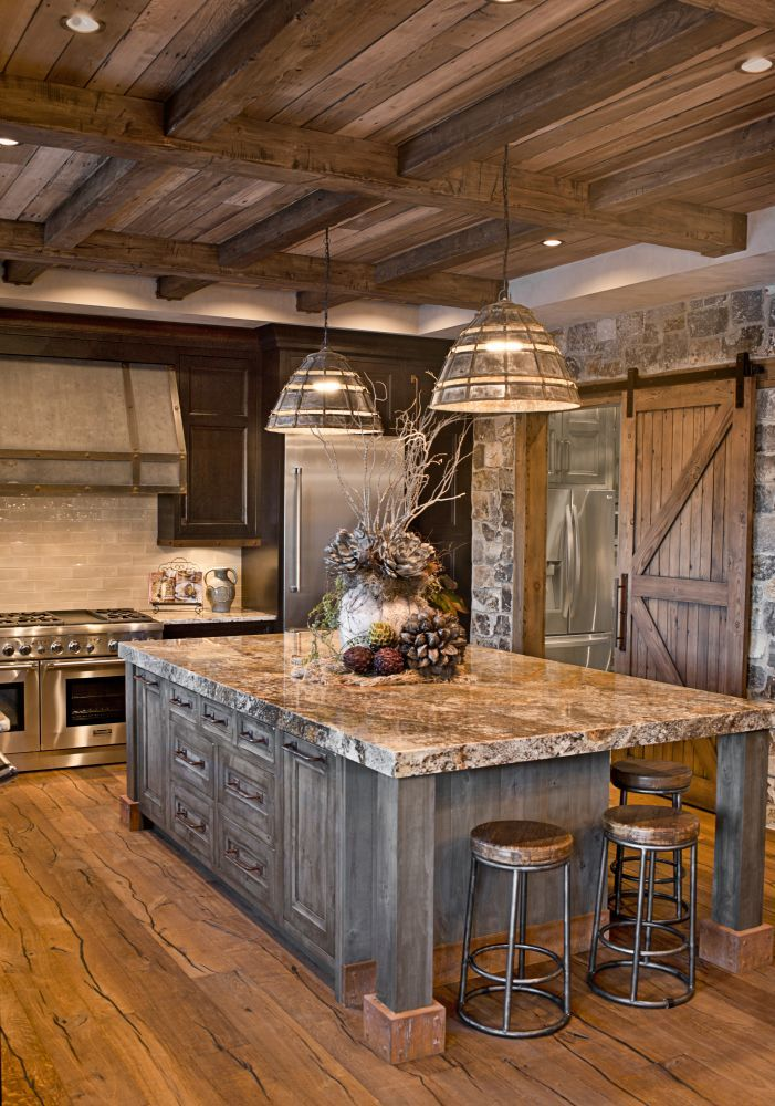WAY to dark for the rest of it though. oversized island; custom cabinetry;  kitchen cabinets; distressed; rustic; glazed; knotty alder; stained;