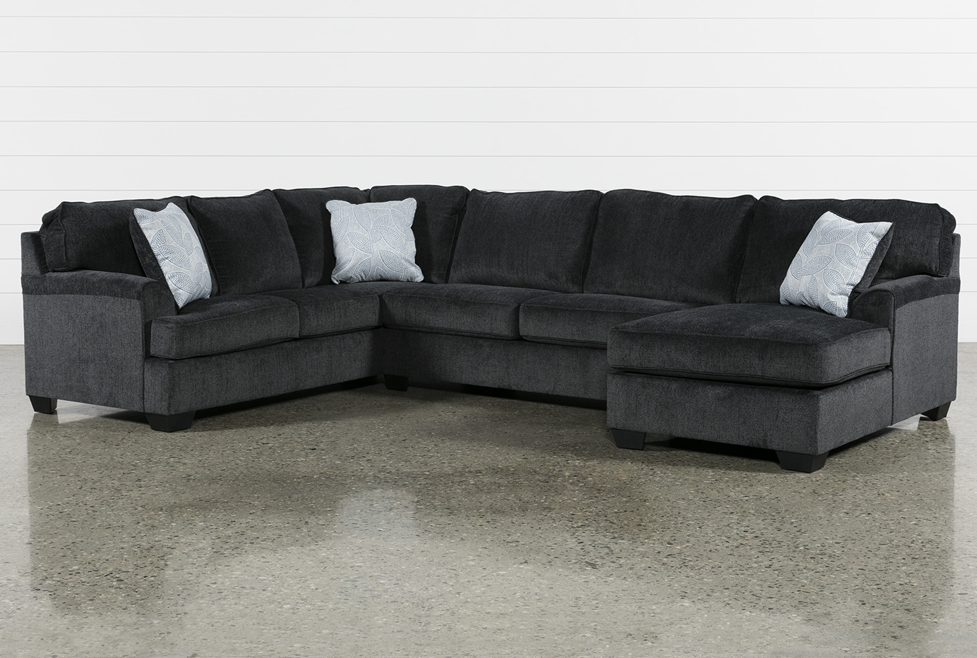 Calvin Slate 3 Piece Sectional W/ Raf Chaise | Living Spaces