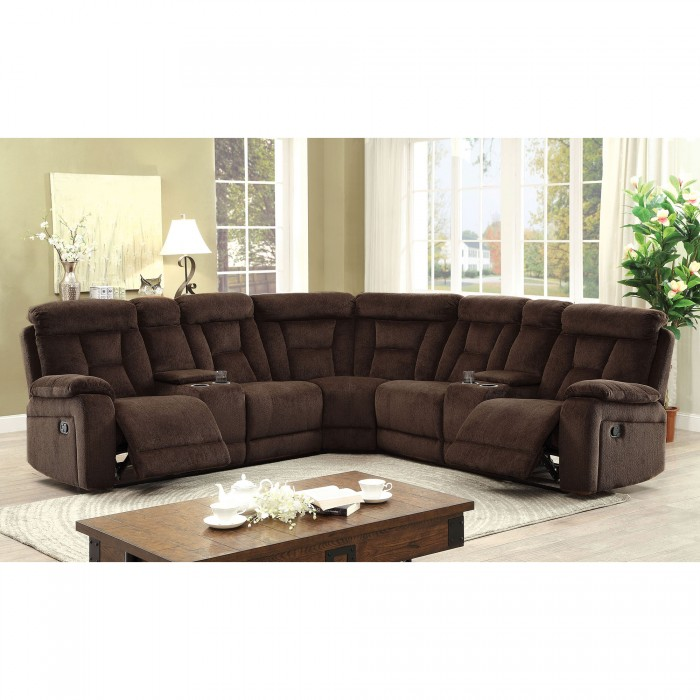 Recliner Sectional Sofa Brown Chenille Fabric Sectional Sectionals w