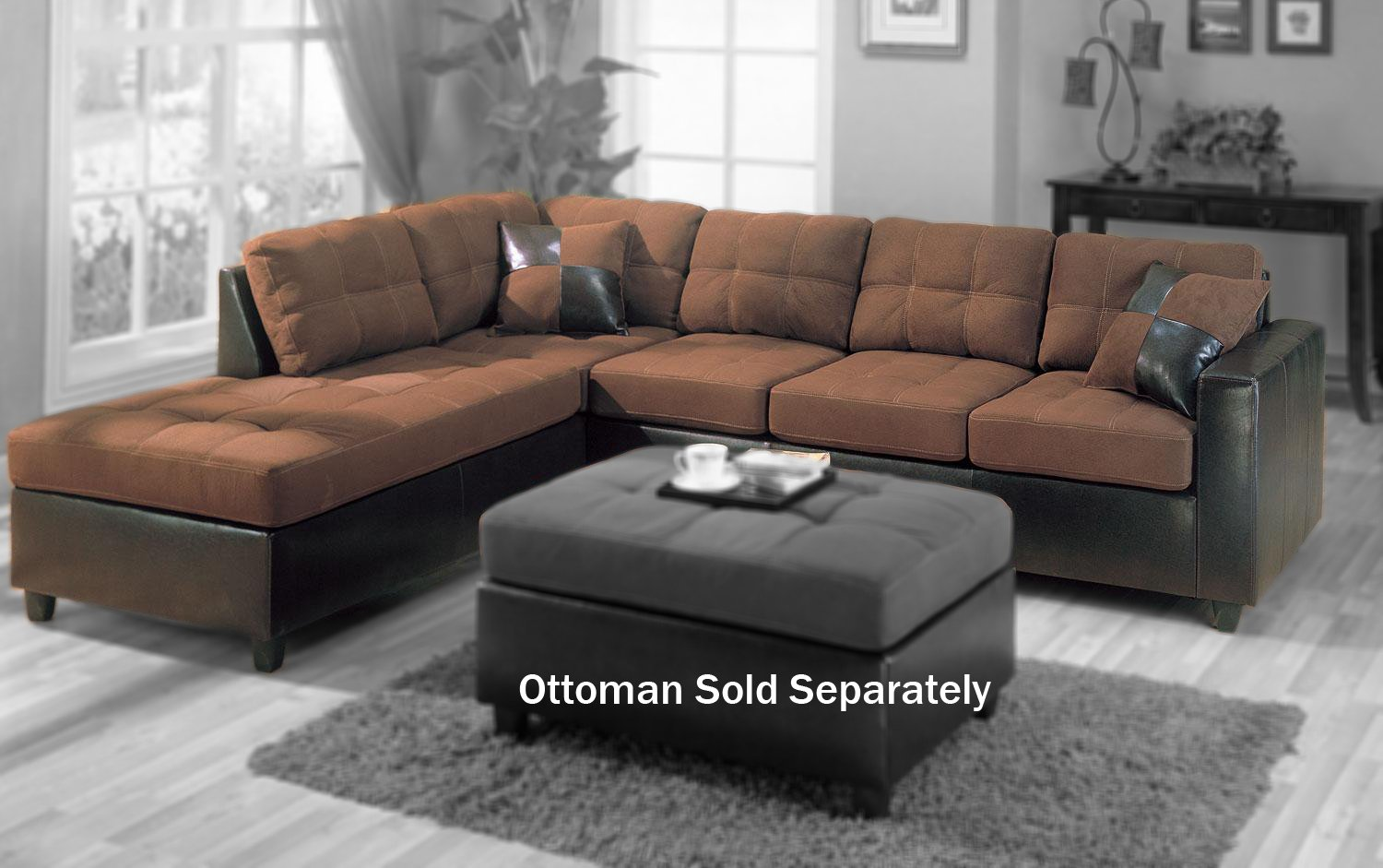 Traveller Location: Coaster Mallory Casual Sectional Sofa, Chocolate: Kitchen &  Dining