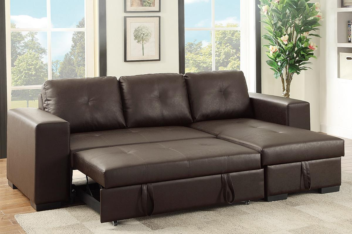 Brown Leather Sectional Sleeper Sofa - Steal-A-Sofa Furniture Outlet Los  Angeles CA