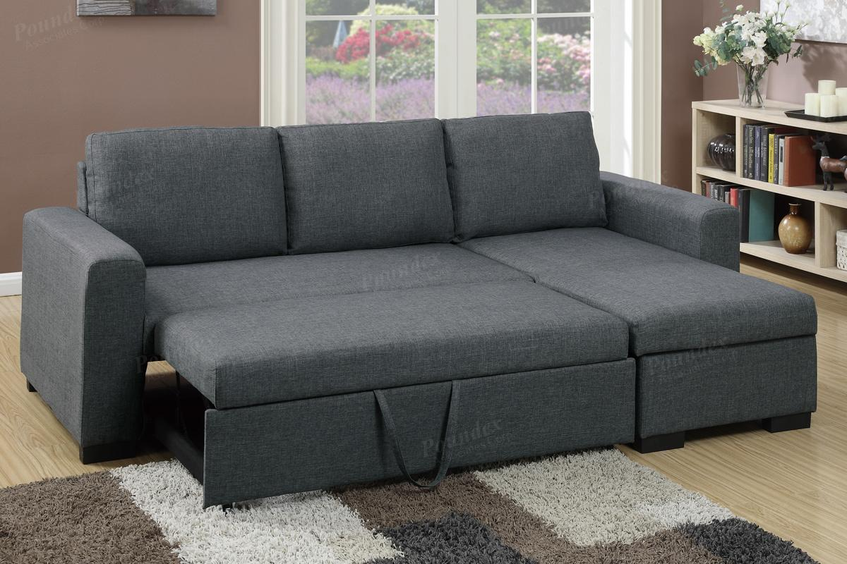Grey Fabric Sectional Sofa Bed - Steal-A-Sofa Furniture Outlet Los Angeles  CA