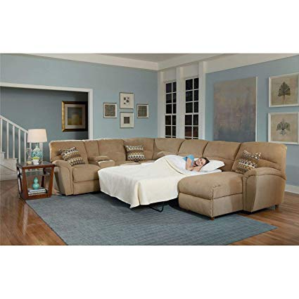 Lane Furniture Modern Robert 4-Piece Reclining Sectional Sofa with Chaise  and Sleeper