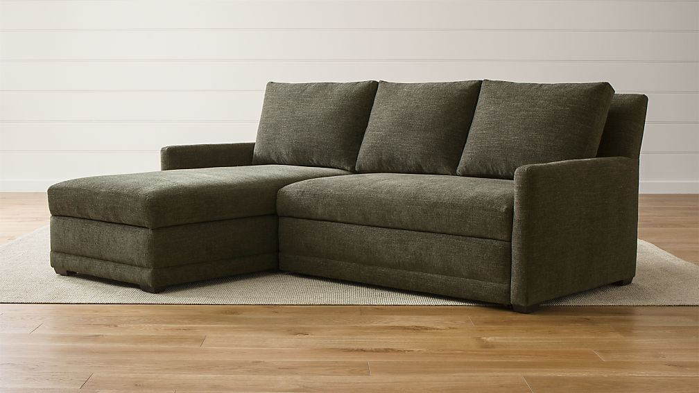 Reston 2-Piece Left Arm Chaise Trundle Sleeper Sectional Sofa + Reviews |  Crate and Barrel