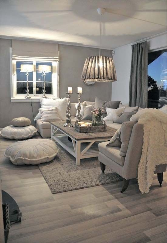 Neutral Living Room | Grey Walls | Calming Colors | Grey Furniture | Wood  Coffee Table | Wood Floor | Area Rug | Farmhouse Windows | Shabby Chic