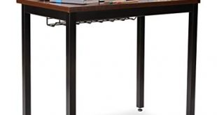 """Small Computer Desk for Home Office - 36"""" Length Table w/Cable Organizer -"""