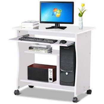 Small Computer Desks PC Table on Wheels with Sliding Keyboard Tray Shelf  Home Office Furniture White