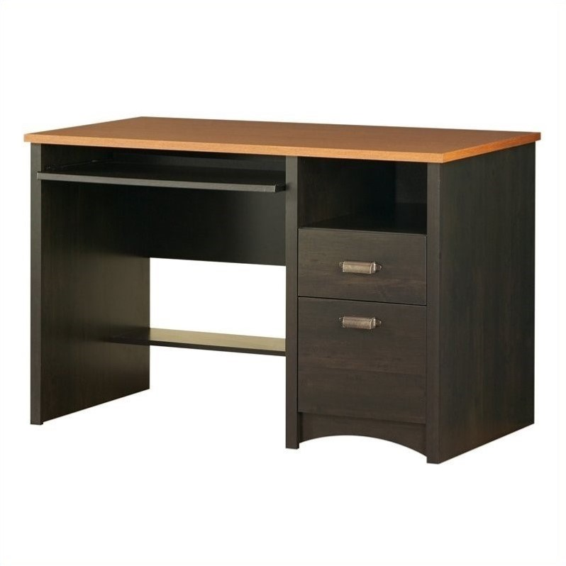 South Shore Gascony Collection Small Wood Computer Desk in Ebony - 7378070
