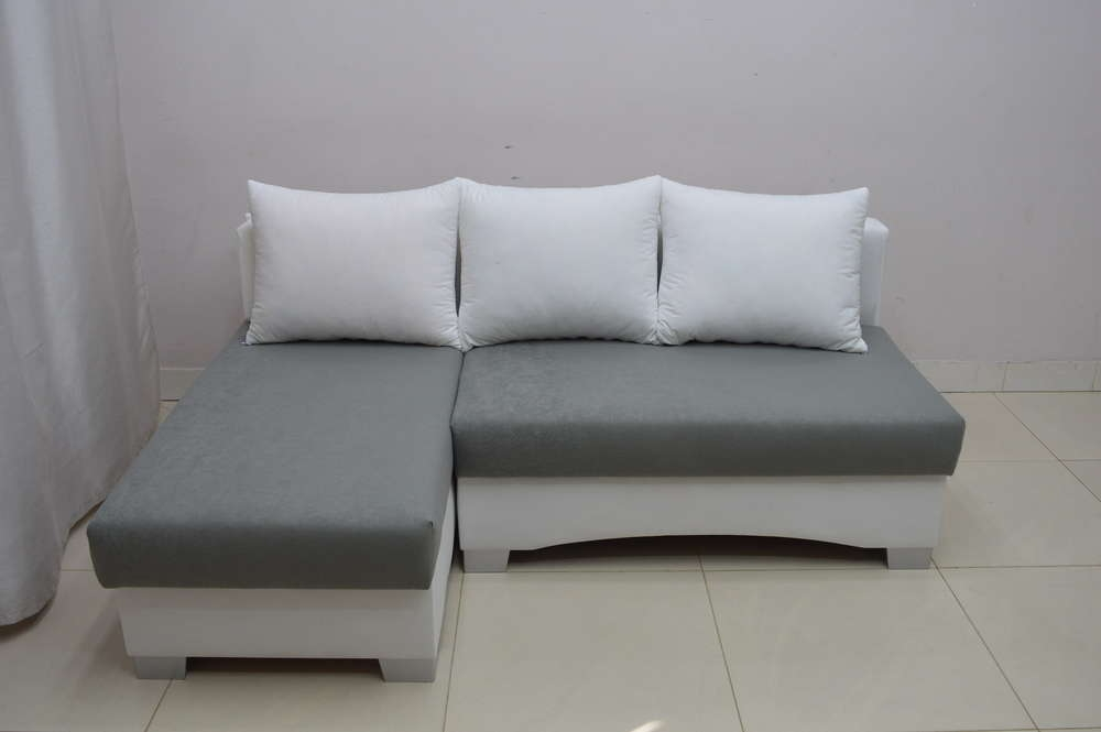 Neoteric Small Corner Sofa Bed Picco White Dk Grey Suedline Fabric