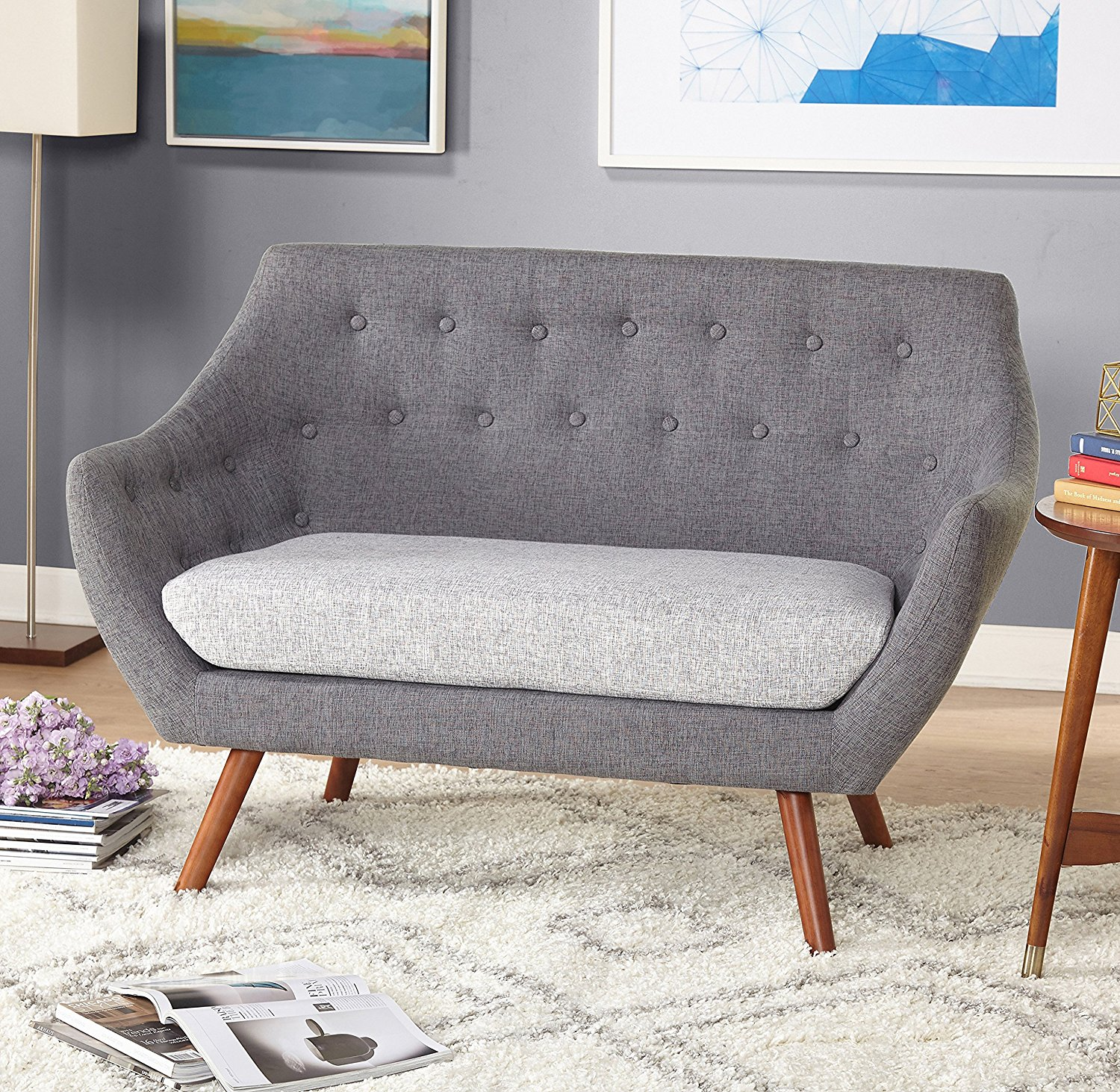 Target Marketing Systems Elijah Collection Mid Century Modern Button Tufted  Upholstered Living Room Loveseat,