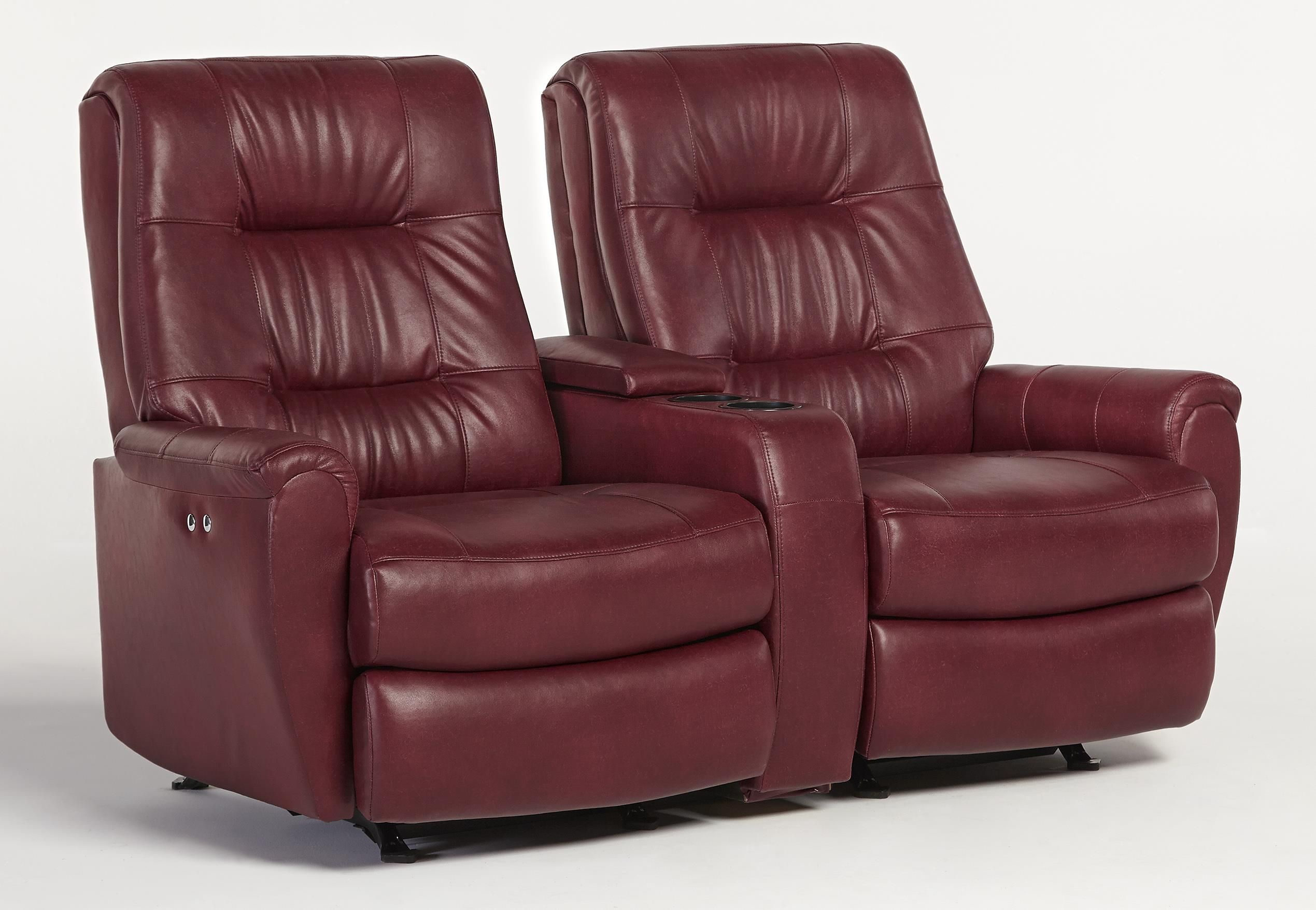 Recliner+Loveseats+for+Small+Spaces | Small-Scale Reclining Space Saver  Loveseat with Drink and Storage .