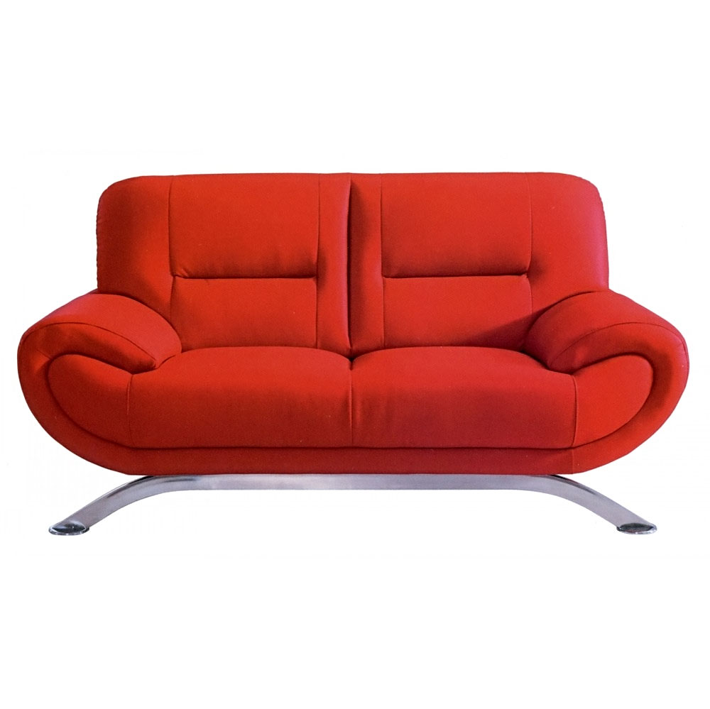 Small Modern Loveseat Red Rectangular Shape Comfortable To Sit Two Man  Foot Arched Chrome