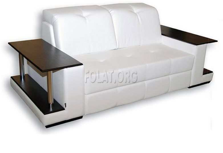 White and Small Sofa Design with Wooden Table Beside for Small Living Room