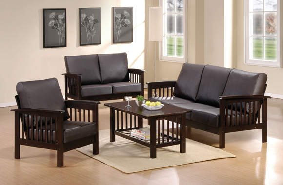 Download small living room with black wooden sofa sets design modern