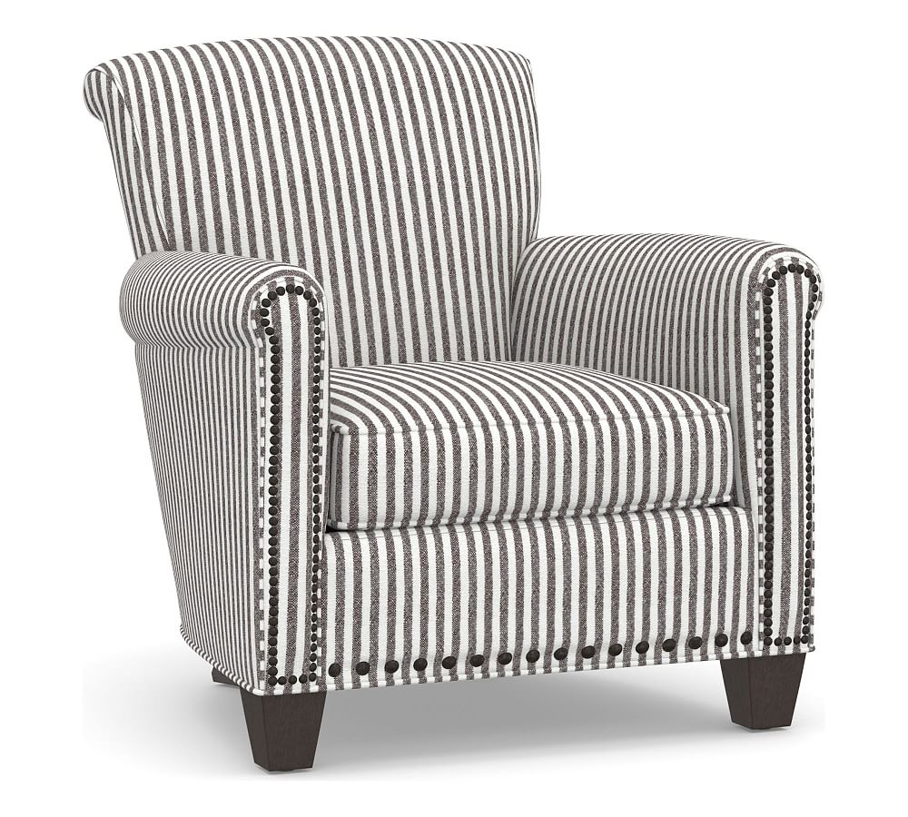 Irving Roll Arm Upholstered Armchair with Bronze Nailheads, Polyester  Wrapped Cushions, Vintage Stripe Black/Ivory
