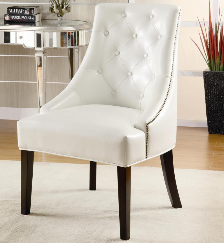 Tufted Accent Chair - White Leather Accent Chair - Accent Chairs on Sale -  Armless Accent