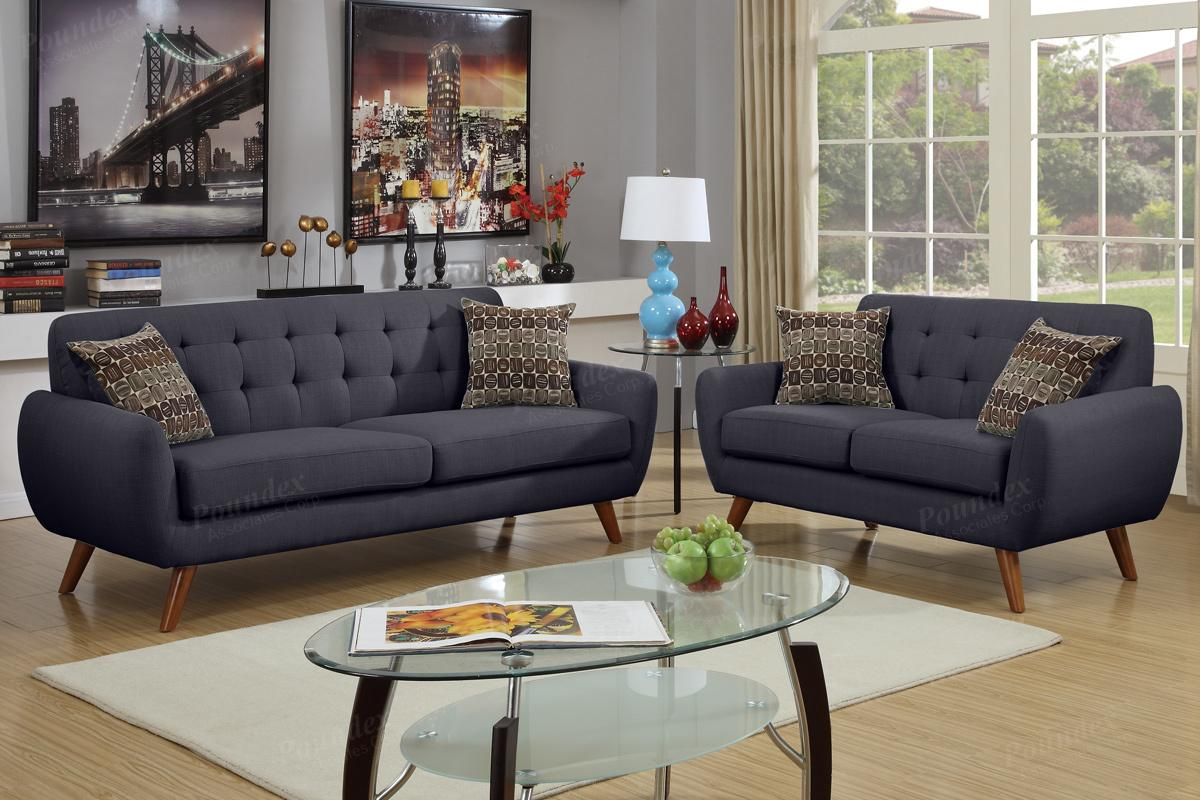 Black Fabric Sofa and Loveseat Set - Steal-A-Sofa Furniture Outlet Los  Angeles CA