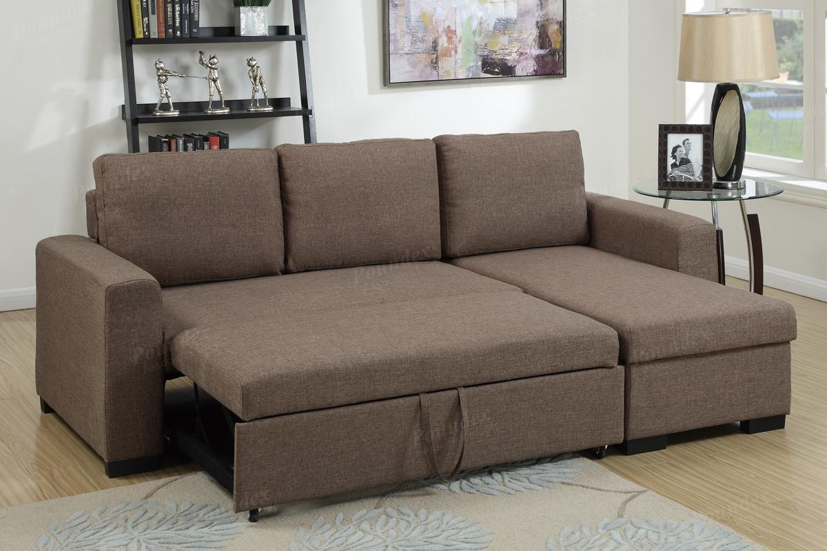 Brown Fabric Sectional Sofa Bed - Steal-A-Sofa Furniture Outlet Los Angeles  CA