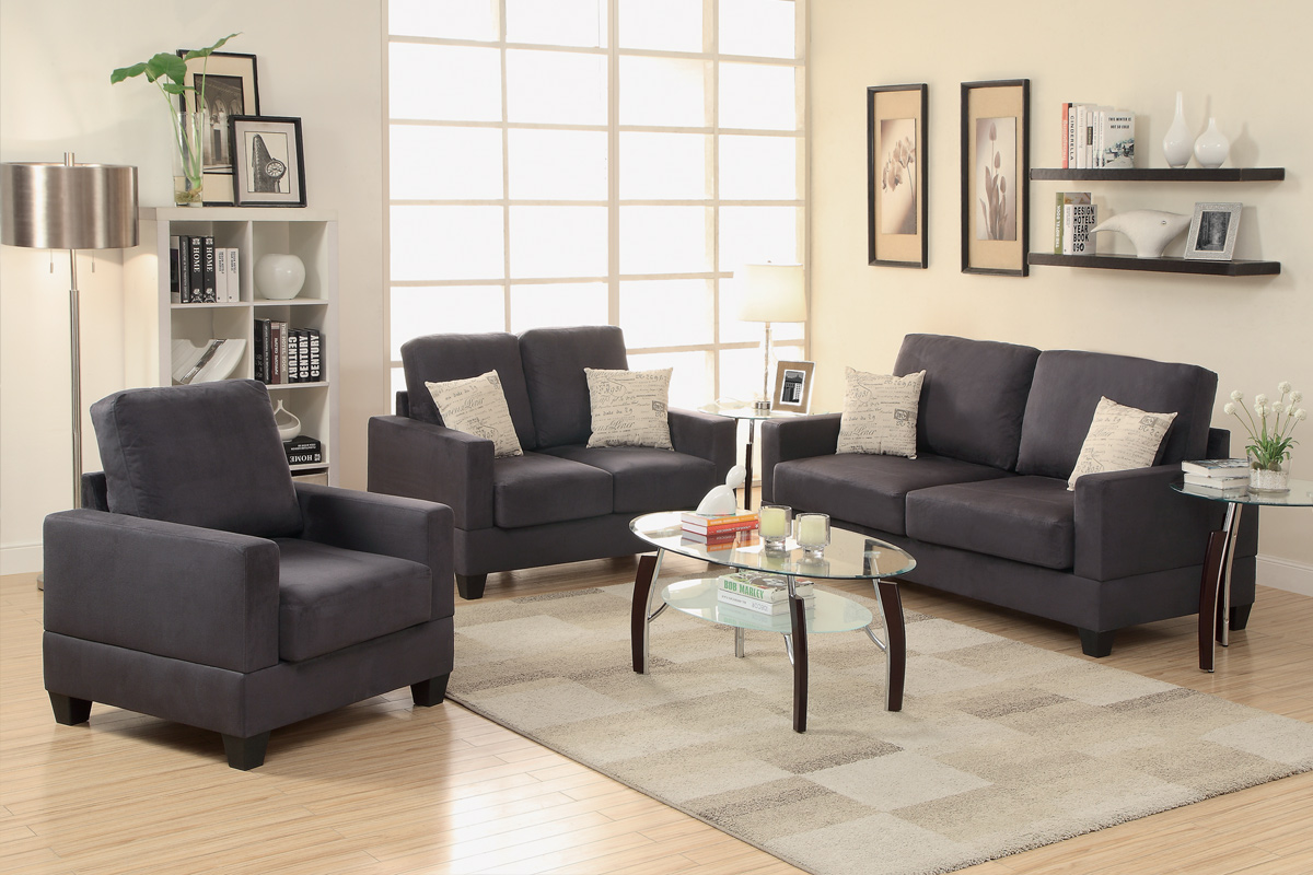 Grey Fabric Sofa Loveseat and Chair Set - Steal-A-Sofa Furniture Outlet Los  Angeles CA