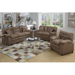Esofastore Dark Brown 3pc Microfiber Sofa Set Sofa Loveseat Chair Accent  Tufting Deep Plush Seating Living