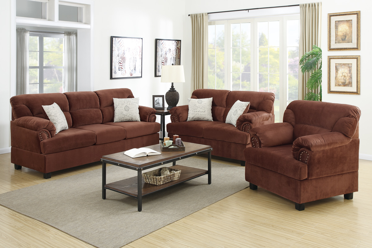 Brown Wood Sofa Loveseat and Chair Set - Steal-A-Sofa Furniture Outlet Los  Angeles CA