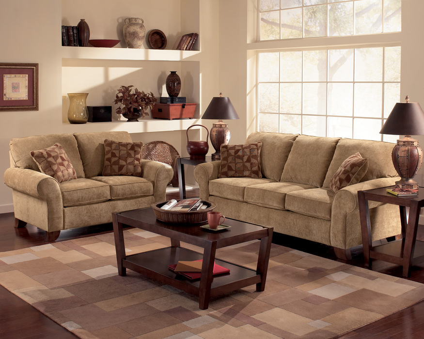 Townhouse Tawny Sofa, Loveseat and Chair Set