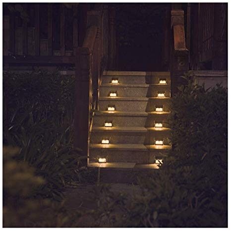 Warm Light] Solar Lights for steps decks pathway yard stairs fences