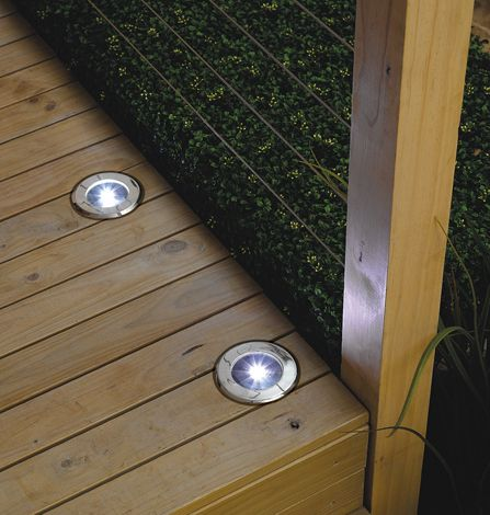 Solar lights for the deck use along steps or step down to another