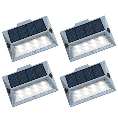 Roopure【Newest Version 8 LED】Solar Stair Step Lights Outdoor