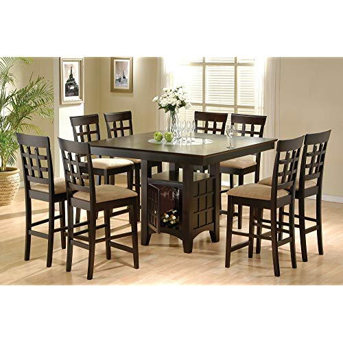 Coaster Home Furnishings 9 Piece Counter Height Storage Dining Table w/Lazy  Susan & Chair