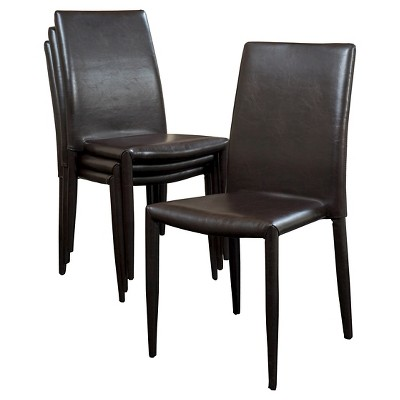 Comstock Bonded Leather Stackable Dining Chair Brown (Set Of 4