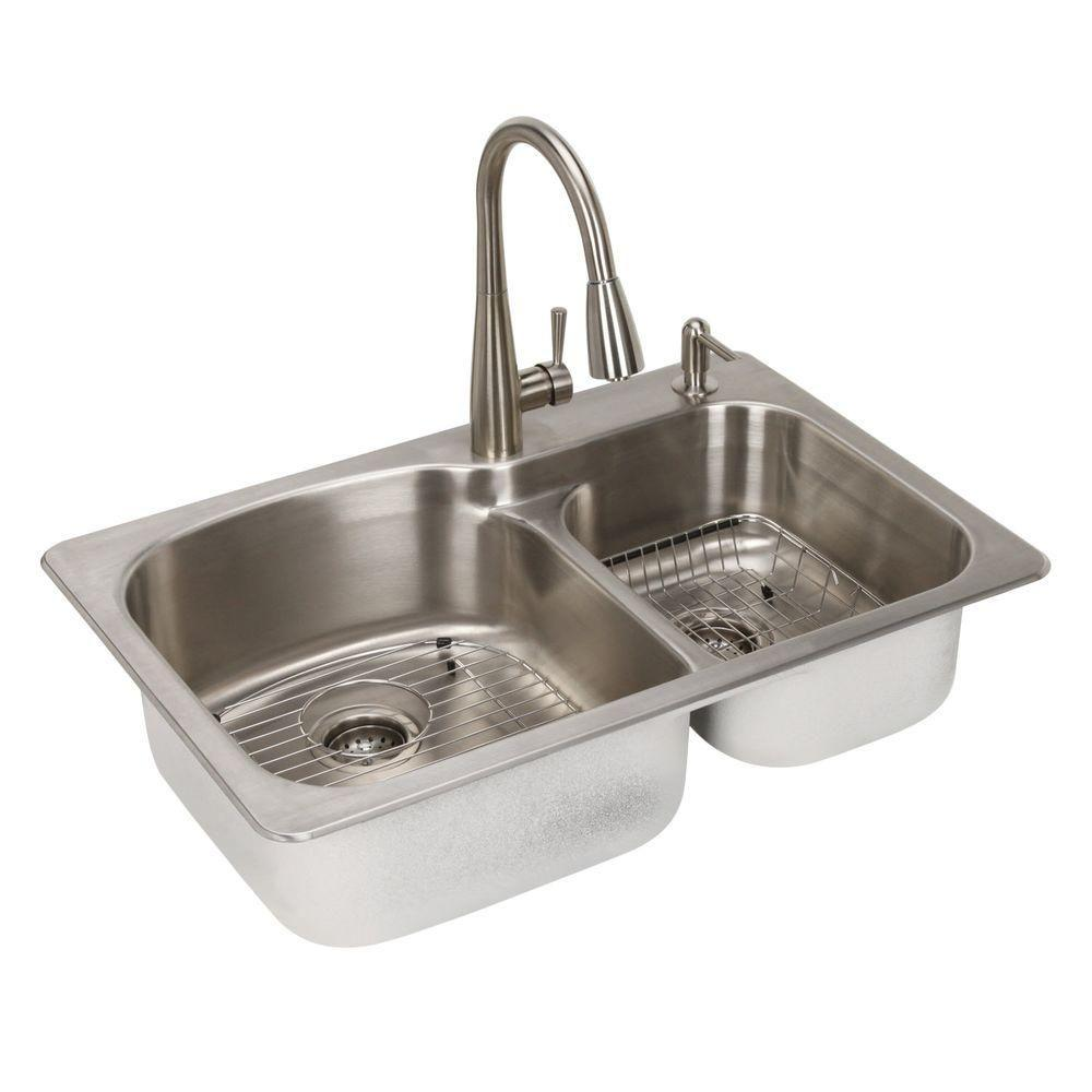All-in-One Dual Mount Stainless Steel 33 in. 2-Hole Double Bowl Kitchen Sink