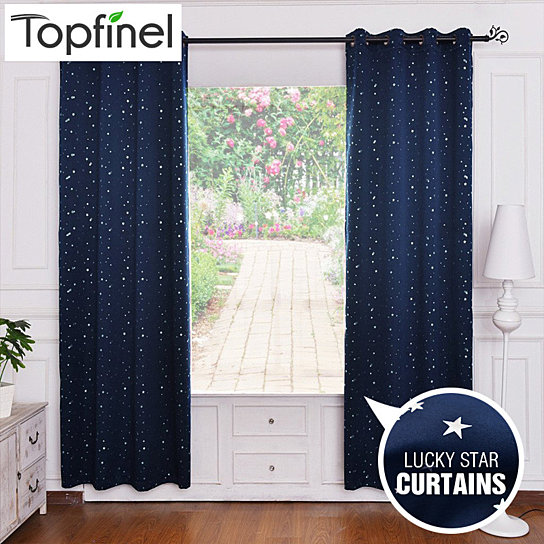 Buy Top Finel Lucky Star Design 100% Polyester Modern Window Curtain Living  Room Curtains Drapes Blackout Curtains for the Bedroom by Designer  Housewares on