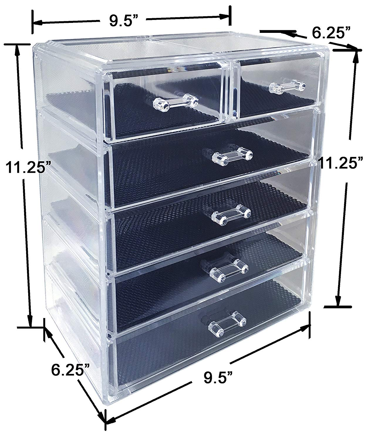 Traveller Location: Sodynee Cosmetics Makeup and Jewelry Storage Organizer Case  Display Boxes, 4 Large and 2 Small Drawers: Home & Kitchen