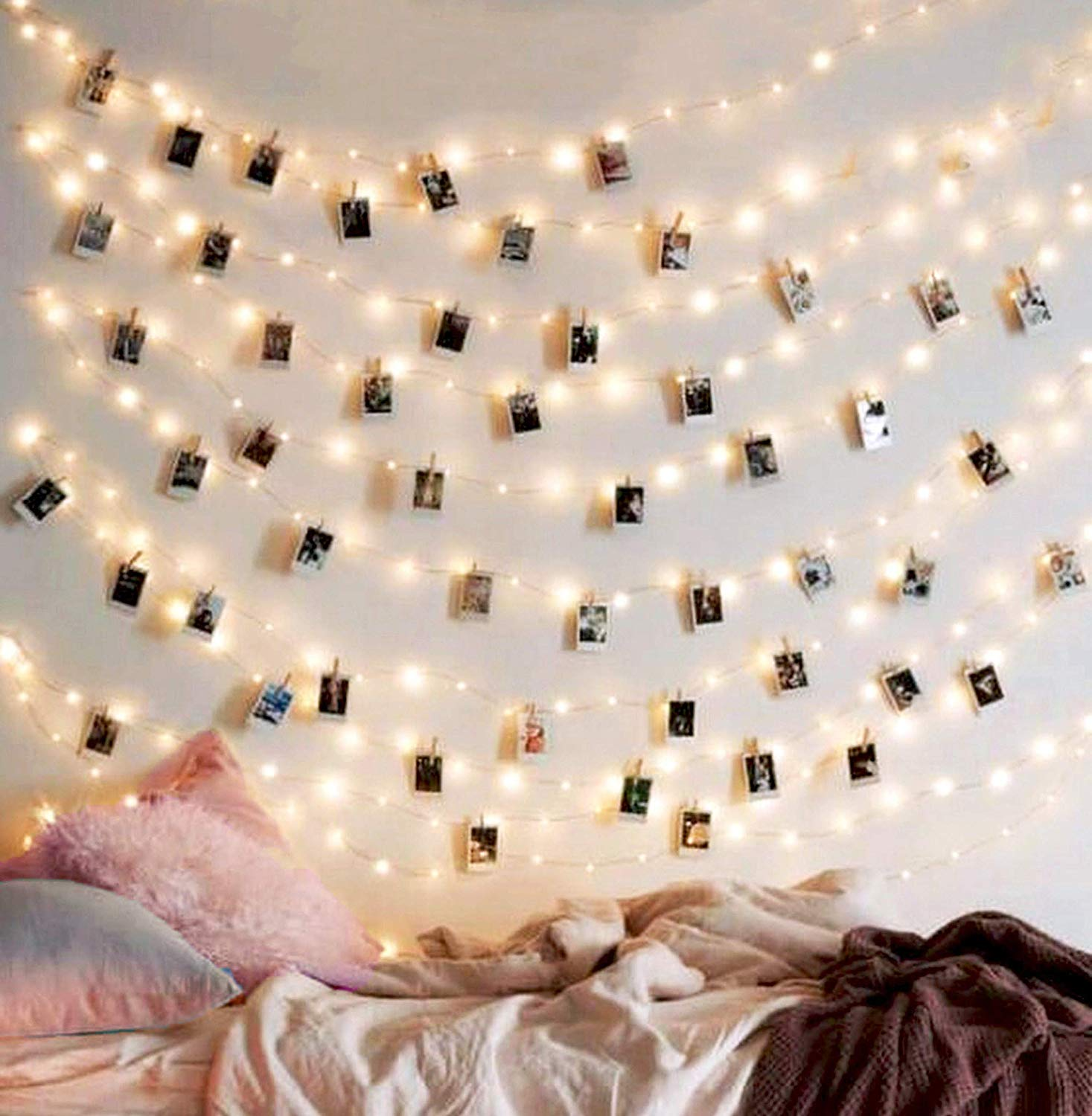 Traveller Location : EZDC 50 LED Photo Clip String Lights, Bedroom Fairy Lights  with Clips for Bedroom Decoration to Hang Card, Polaroids & Pictures :  Garden &