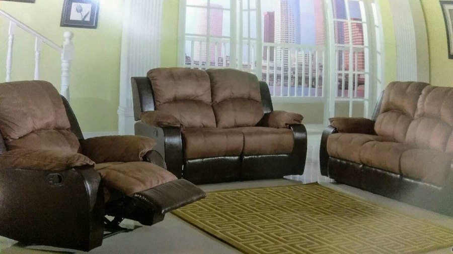 Used brown and black micro-suede couch and loveseat for sale in Portland