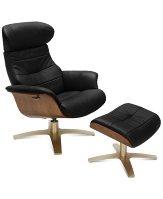 Furniture Annaldo Leather Swivel Chair & Ottoman 2-Pc.