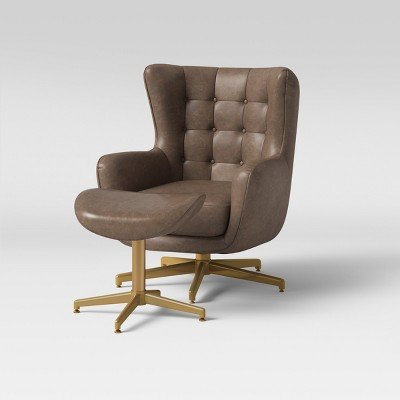 Ordrup Tufted Swivel Chair & Ottoman Faux Leather Brown - Project 62™ :  Target