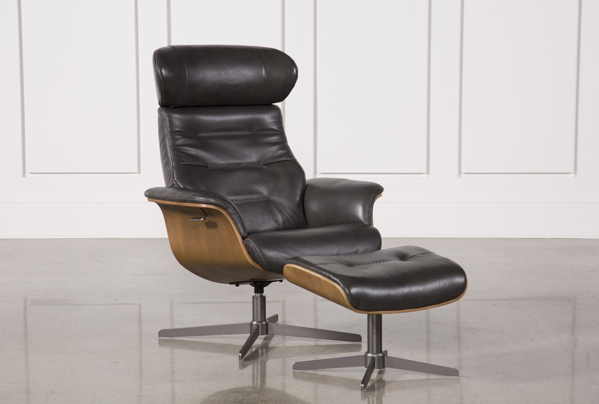 Amala Dark Grey Leather Reclining Swivel Chair & Ottoman - 360