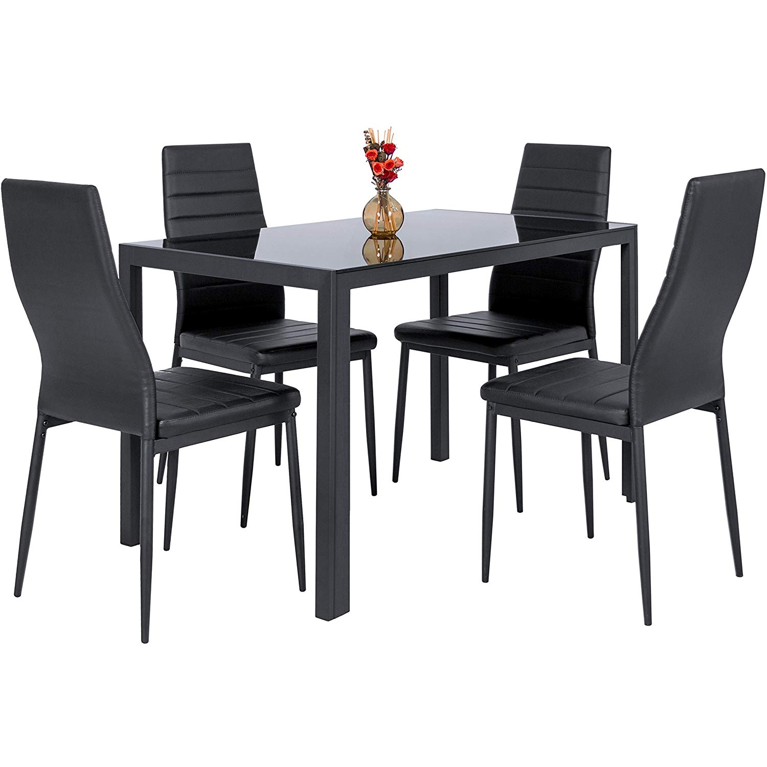 Traveller Location - Best Choice Products 5-Piece Kitchen Dining Table Set w/Glass  Tabletop, 4 Faux Leather Metal Frame Chairs for Dining Room, Kitchen,