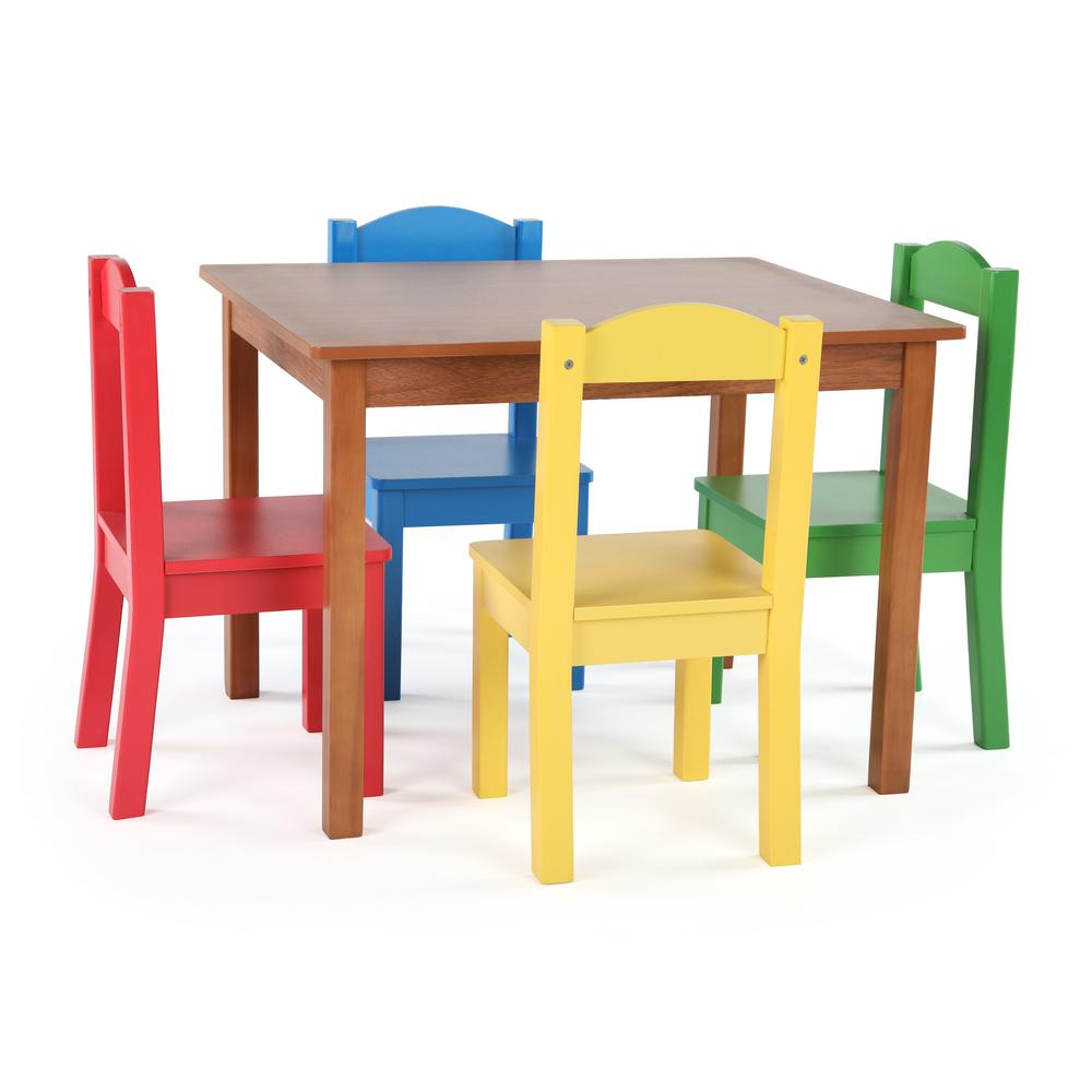 Tot Tutors Highlight 5-Piece Natural/Primary Kids Table and Chair Set-TC633  - The Home Depot