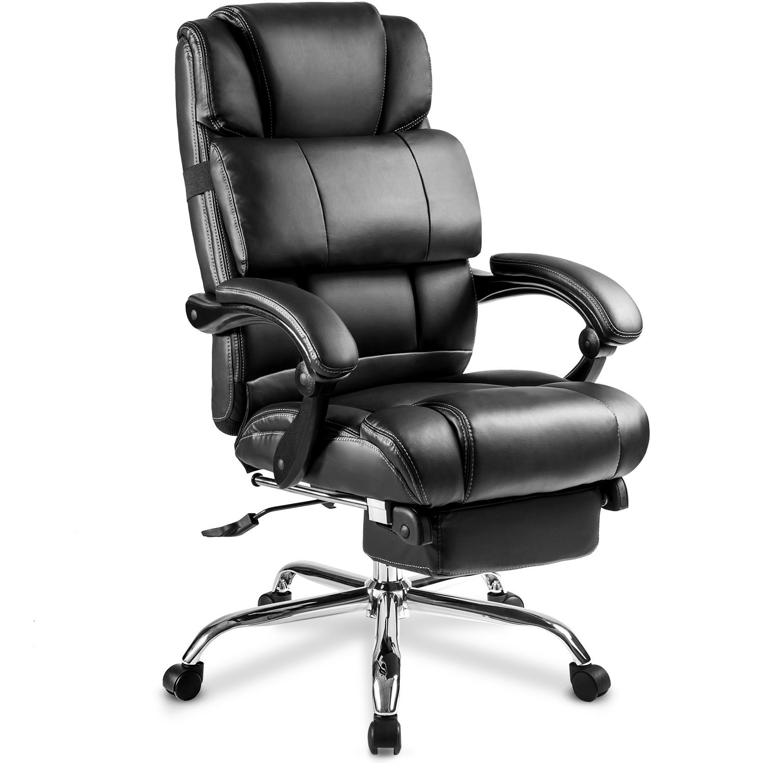 Merax Ergonomic Leather Big & Tall Office Chair with Footrest, Black -  Traveller Location