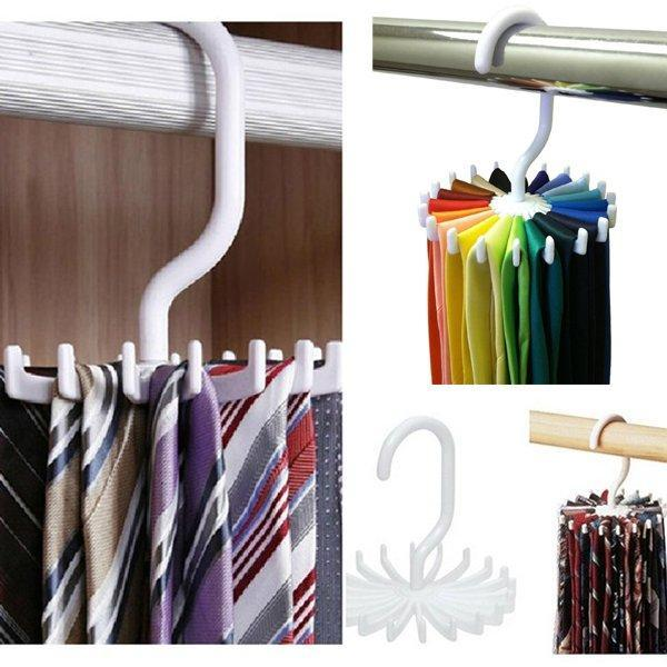 2019 Tie Rack Belt Holders Tie Racks Organizer Hanger Closet 20 Hooks  Rotating Men Neck Ties Housekeeping Organization Hangers Racks From  Dropshipcenter,