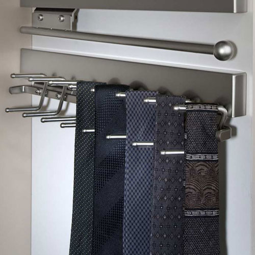 Deluxe Sliding Tie Rack - Satin Nickel Image