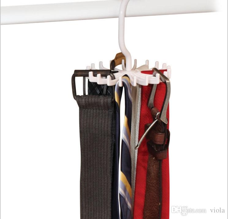 2019 Tie Rack Belt Holders Tie Racks Organizer Hanger Closet 20 Hooks  Rotating Men Neck Ties Housekeeping Organization Hangers Racks From Viola,