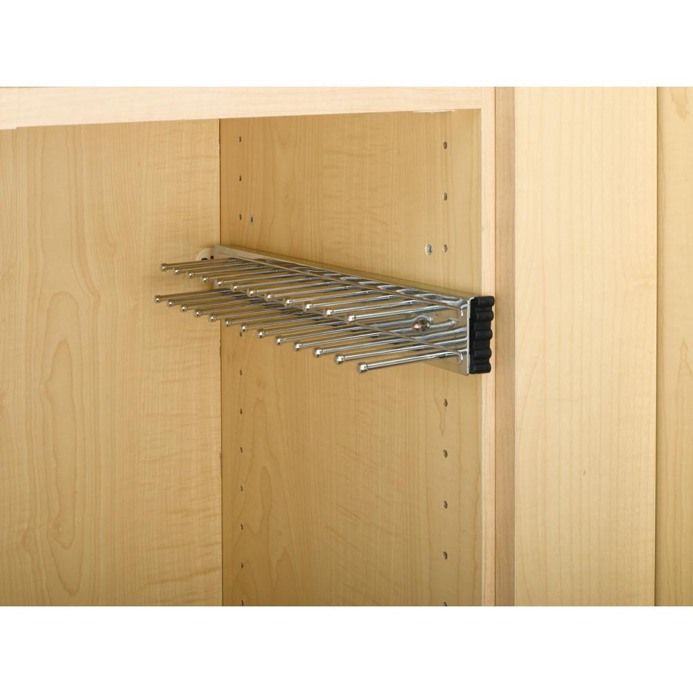 D Chrome Pull-Out Side Mount 9-Hook Tie Rack