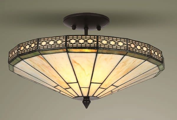 Mission tiffany style glass semi flush ceiling light | Dream Home